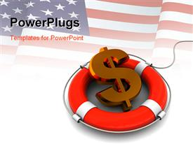PowerPoint template displaying a dollar sign with a white background and an American flag