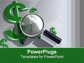 PowerPoint template displaying magnifying glass hovering over various-sized green dollar