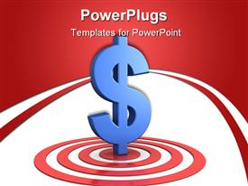 PowerPoint template displaying blue dollar sign standing in the middle of a red target board