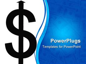 PowerPoint template displaying black dollar bill sign in white background and blue background with notes
