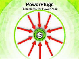 PowerPoint template displaying dollar sign in the middle of a green circle with red arrows pointing towards the sign
