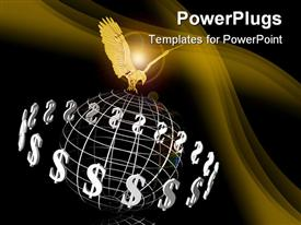 PowerPoint template displaying a golden eagle holding an earth globe framework with dollar signs around them
