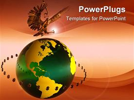 PowerPoint template displaying gold American eagle with arrows in claws above green and gold globe surrounded by dollar signs