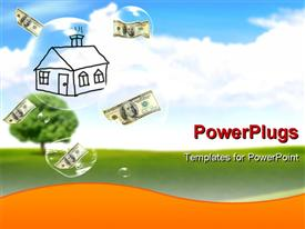 PowerPoint template displaying sketched building with dollar bills falling in water droplets over green field