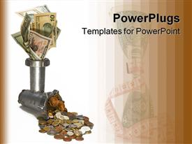 PowerPoint template displaying the conversion of the paper money into coins