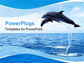 PowerPoint template displaying two dolphins in the ocean jump out of water