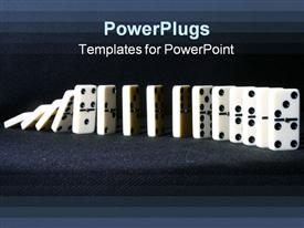 PowerPoint template displaying row of falling dominoes on gray background