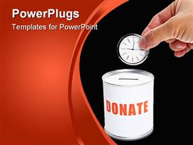 PowerPoint template displaying donating time metaphor with hand dropping clock into donation can