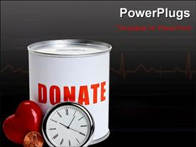 PowerPoint template displaying a clock and a heart with a donation box in the background