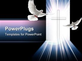 PowerPoint template displaying christian cross glowing with light with two doves, peace, Christianity, religion, faith
