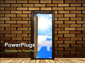 PowerPoint template displaying a brick wall wih an opened door and sky in the background