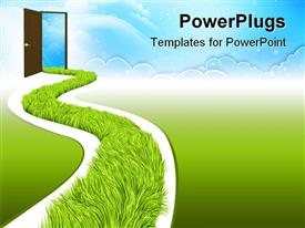 PowerPoint template displaying white road with fresh green grass going to open door that leads to clear blue sky