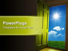 Door opening to green grass and blue sky template for powerpoint