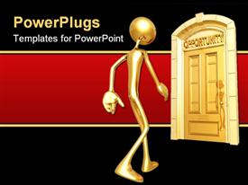 PowerPoint template displaying gold figure approaching door of opportunity on red and black background