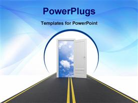 PowerPoint template displaying clean path leads to open door to blue cloudy sky
