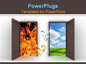 PowerPoint template displaying opened doors into different elements - blue sky and fire in the background.