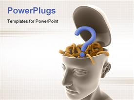 PowerPoint template displaying open human head filled with 3D question mark symbols depicting confusion
