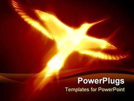 PowerPoint template displaying flaming phoenix on a dark red background
