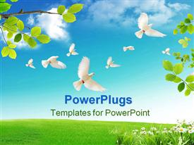 PowerPoint template displaying spring when the nature wakes up from the winter sleep