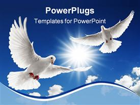 Two doves flying with spread wings on sky powerpoint design layout