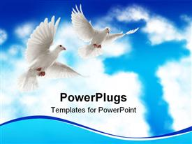 Two doves flying with beautiful nature scenic powerpoint design layout