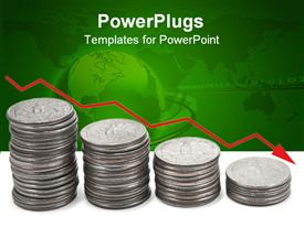 PowerPoint template displaying a collection of coins with green background having a globe and binary numbers