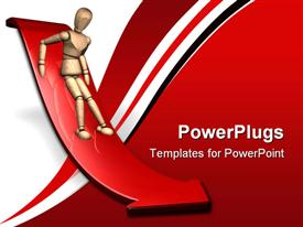 PowerPoint template displaying person sliding down red slope arrow, fear, red and white background