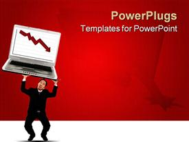 PowerPoint template displaying young business man struggling holding up falling laptop with falling red stock chart on the screen in the background.
