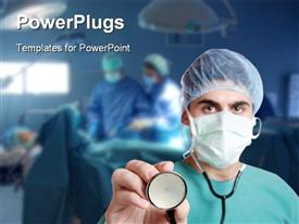 PowerPoint template displaying a surgeon with a stethoscope and an operation going on in the background