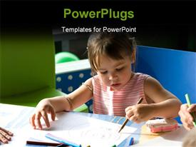 PowerPoint template displaying cute little girl drawing with color crayons