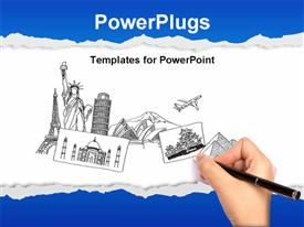 PowerPoint template displaying a number of historic buildings in the drawing