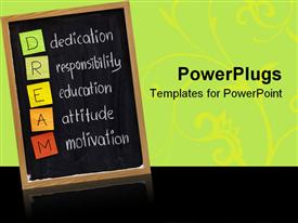 PowerPoint template displaying education blackboard with DREAM acronym on green and black background