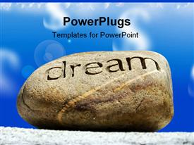 PowerPoint template displaying reams put on the shelf a rock with the word dream inscribed in it sits on top of a brick wall again