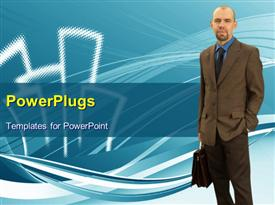 PowerPoint template displaying businessman with his group in the background.