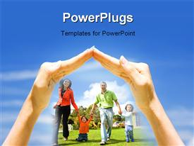PowerPoint template displaying a pair of hands hovering over a family of four