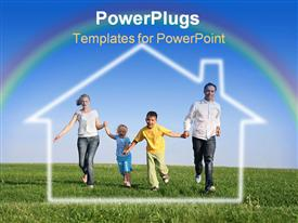 PowerPoint template displaying family of four running grass sky water