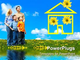 PowerPoint template displaying family under blue sky. Father mother and sons in the park