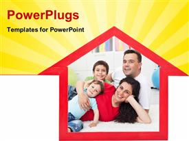 PowerPoint template displaying a house with a family in it and yellowish background