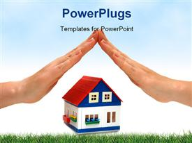 Hands over a small house white background presentation background