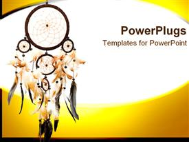 PowerPoint template displaying dreamcatcher with various sized feathers on white and yellow background