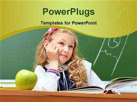 PowerPoint template displaying a kid with an apple and various books with greenish background