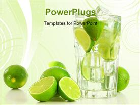 PowerPoint template displaying alcoholic party drink with fresh lemon in glass in the background.