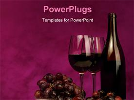 PowerPoint template displaying horizontal of wine bottle with glasses and grapes on maroon background