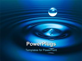 PowerPoint template displaying drop of water. Abstract background depiction