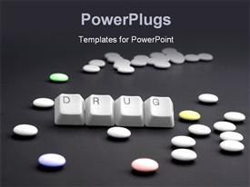DRUG caption by keyboard keys and pile of pills on black template for powerpoint