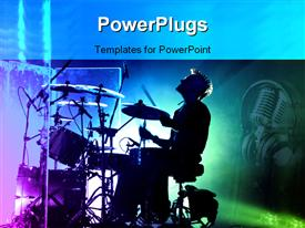 PowerPoint template displaying dark depiction of drummer singing at his drums and headphones with microphone in the background