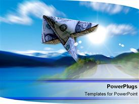 Dollar bill soaring through air powerpoint design layout
