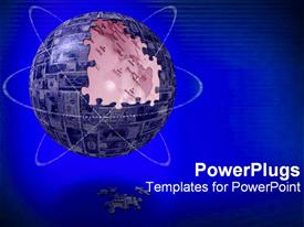 Spherical puzzle with missing pieces powerpoint theme