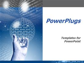 PowerPoint template displaying man hand holding a globe made of success word and globes of binary codes on blue background