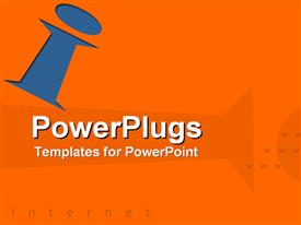 PowerPoint template displaying orange background with blue letter I